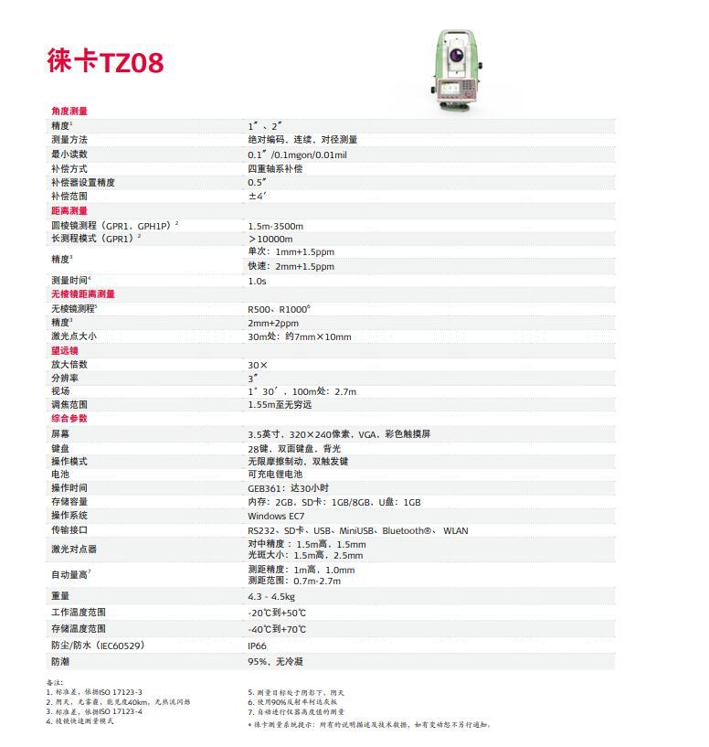 徕卡TZ08技术参数